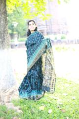 Blue Waves on a Sea of Black Silk Saree