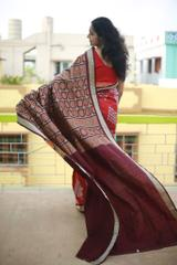 Bomkai Anchal with Golden Pasapalli on Sparkling Red Silk
