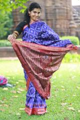 "Red Lotuses Blooming on Royal Blue Silk ""Saree"""