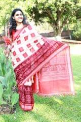 """Lions and Konark Wheels - Delightful Red and Peach """"Saree"""""""