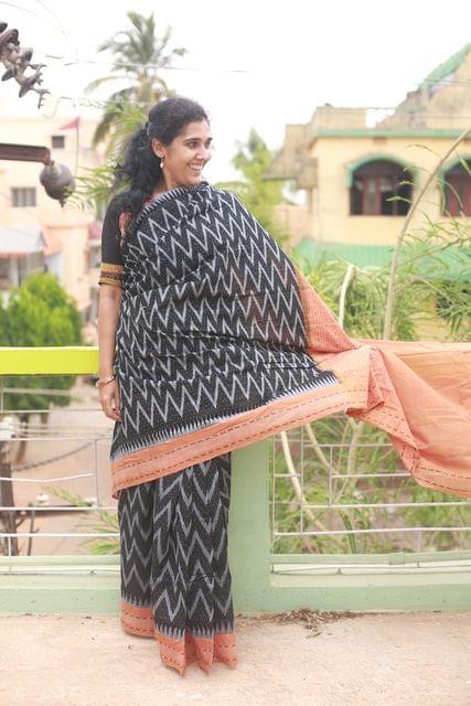 """Paper Design Odisha Sambalpuri Black and Orange Ikkat Cotton """"Saree"""""""
