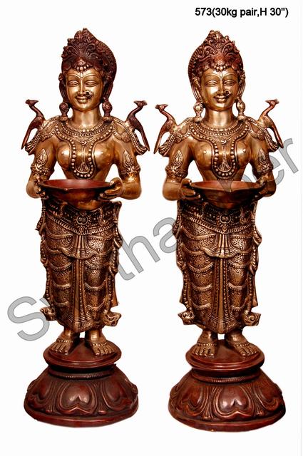 Brass Deepa Lakshmi Set of 2