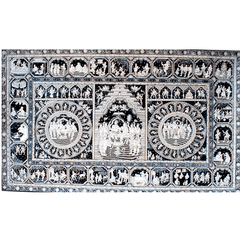 Pattachitra-Ramayana story with Rama Pattabhishek in the Centre - Black & White