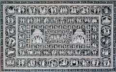 Pattachitra - Krishna Katha with  dashavatar in Black and white