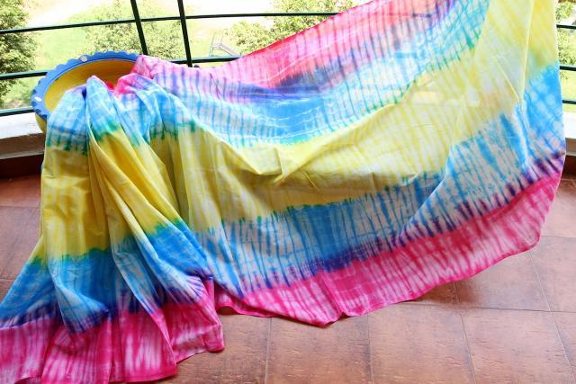 Shibori Mul Cotton Saree - Rainbow colours