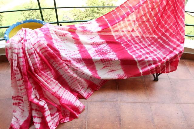 Shibori Mul Cotton Saree -  Hot Pink