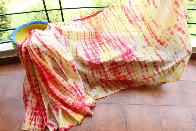 Shibori Mul Cotton Saree - Yellow & Pink