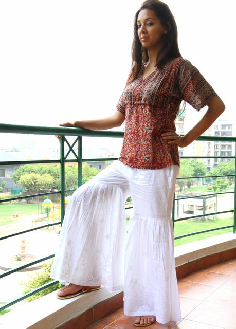 Chikankaari Gharara-White