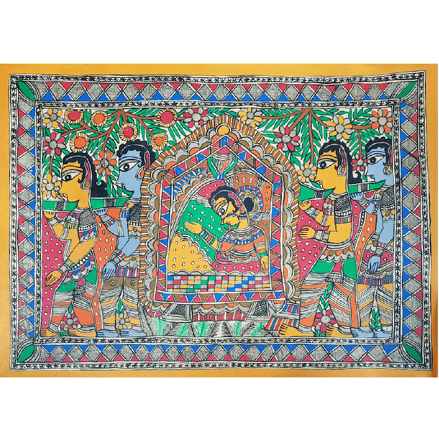 Madhubani Painting -Noble Lady in a Palanquin