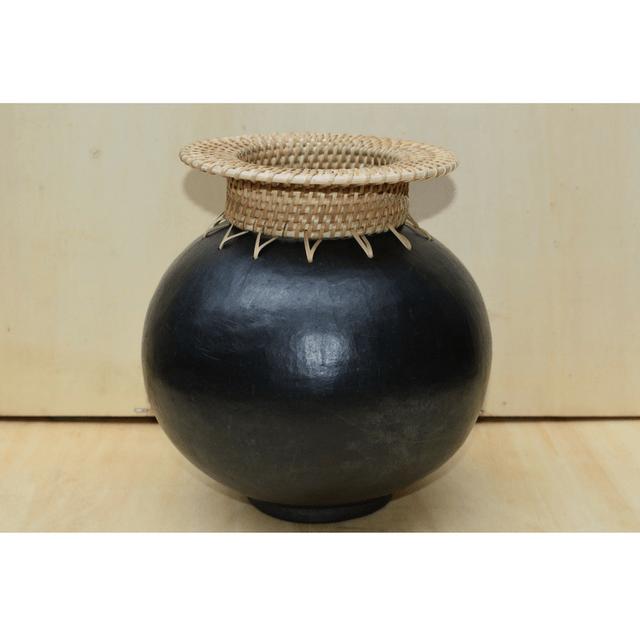 Round vase with cane neck