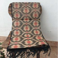 Pochampally Cotton Silk - Beige and Black