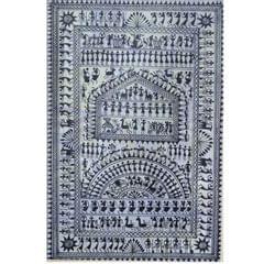 Saura art in Black and White on Tussar Silk - Village Scene