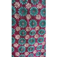 Kantha - Floral Patterns On Purple Silk