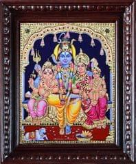 Shiva, Parvati with Ganesha and kartikeya - Tanjore painting