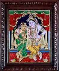 Krishna with Rukmini - Tanjore Painting