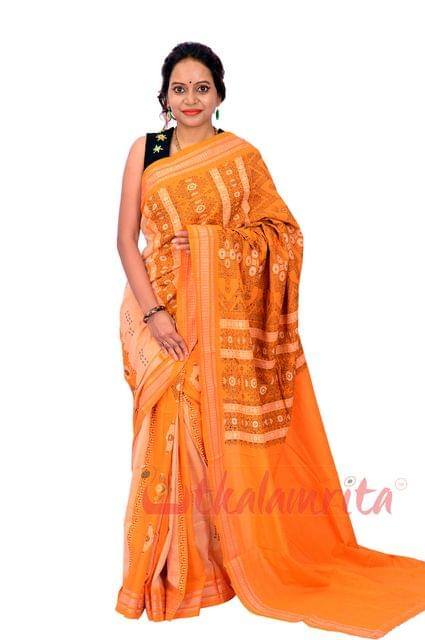 Bomkai -Yellow Line Buti Saree