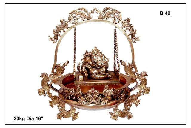 Ganesha-Swinging Ganapati With Mayura - Urli