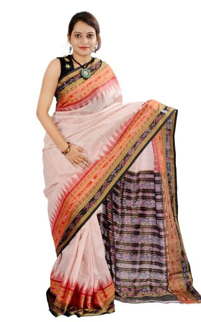 "Sambalpuri Sachipar ""Saree ""in White and Red"