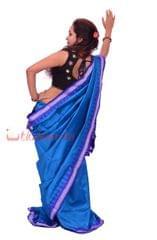 Berhampuri Patta Saree In Blue And Violet