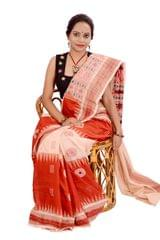 Bomkai - Beige And Rust Red Saree