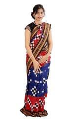 Odisha Sakta Blue and Red Saree