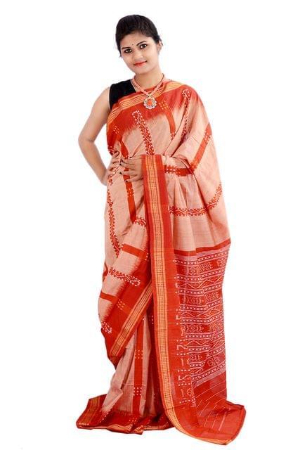Odisha Sambalpuri Rust Coloured Saree With Line Bandha and Buti