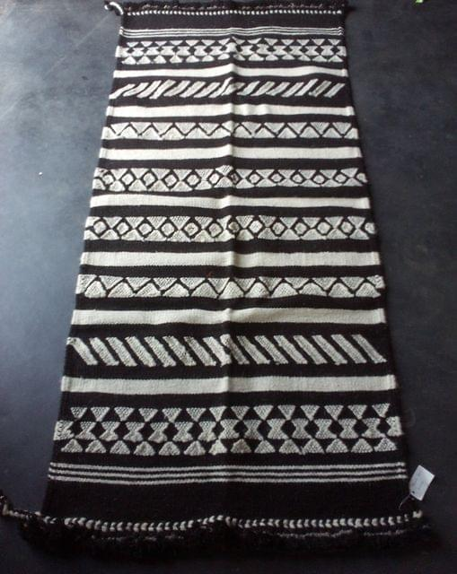 """Black and White Kharad """"Rug"""" with  Geomteric Patterns"""
