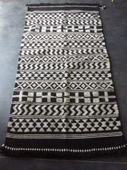 """Black and White Kharad """"Durrie"""" with  Geomteric Patterns"""