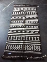 """Black and White Kharad """"Dhurrie"""" with  Geomteric Patterns"""