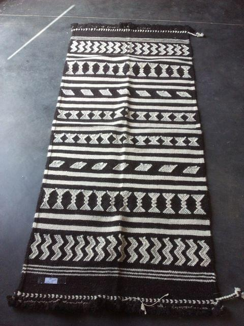 "Black and White Kharad ""Dhurrie"" with  Geomteric Patterns"