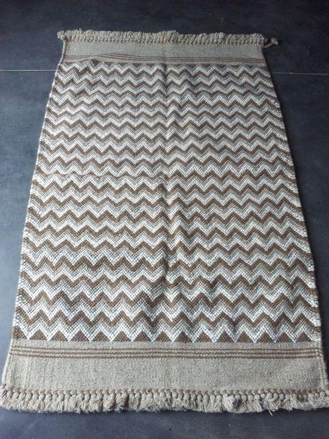 """Brown Kharad """"Durrie"""" with single pattern"""