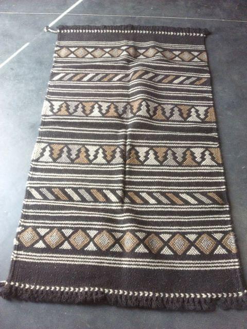 "Dark Brown Kharad ""Rug""  with various motifs"
