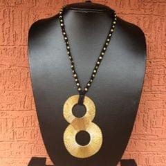 """""""Brass Necklace"""" - with Infinity Pendant in Black Thread"""