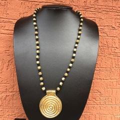 Brass Necklace - Spiral Pendant in Black Thread