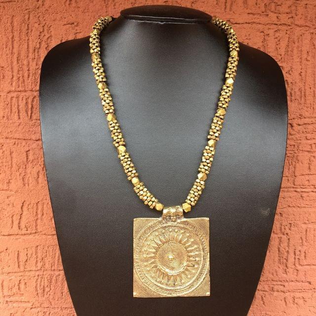 Brass Necklace With Mandala Pendant