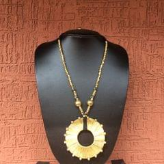 Brass Necklace With Chakra Pendant In Black Thread