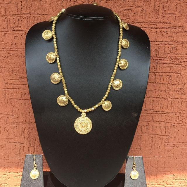 Brass Necklace With Taali Pendants And  Earrings