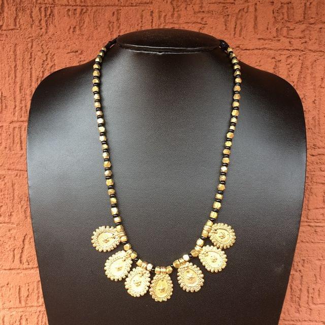 Brass Necklace With Petal Motifs