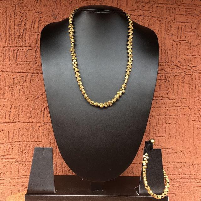 Long Brass Beads Necklace With Bracelet