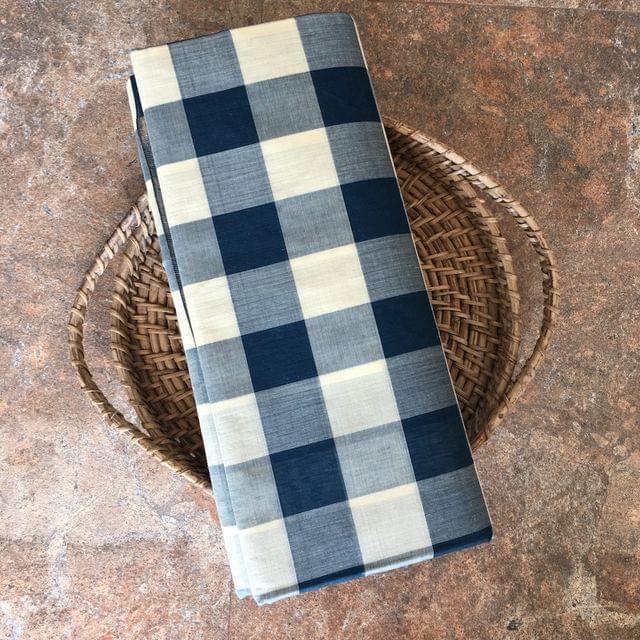 Uppada Checks Cotton - Blue and Cream