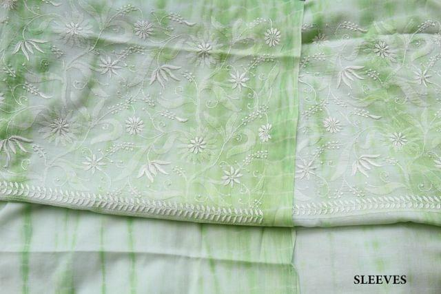 Chikankaari on Shibori Mul Kurta - Lime Green