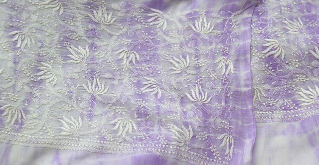 Chikankaari on Shibori Mul Kurta - Purple