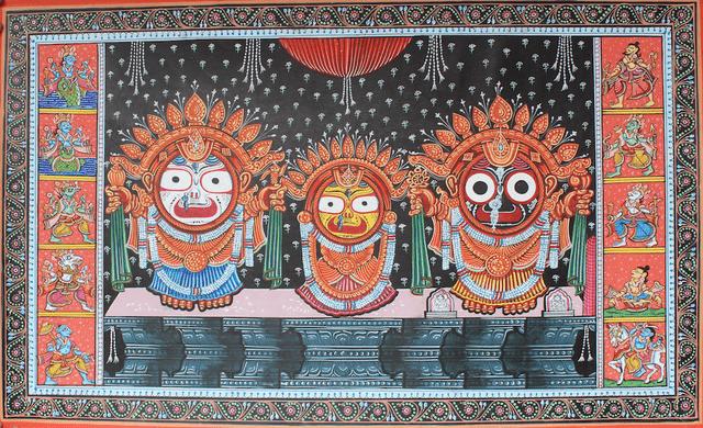Pattachitra - Lord Jagannath, Ballabhadra, Subhadra