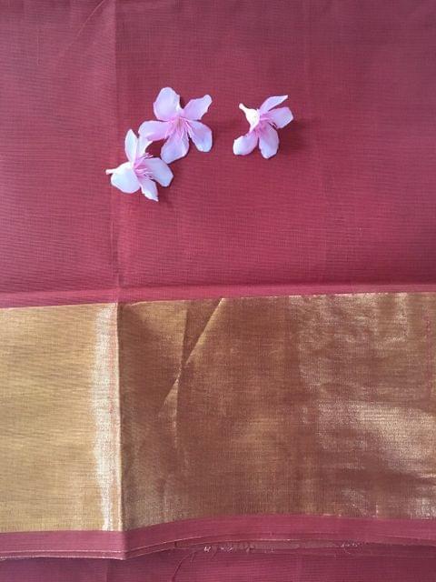 Uppada Cotton - Brick Red  With Tissue Border