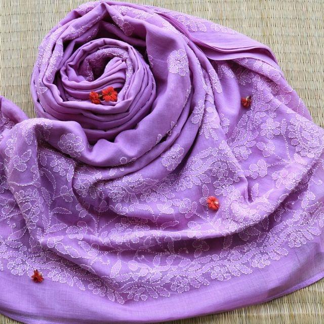 Chikankaari On Bengal Taant In Lilac