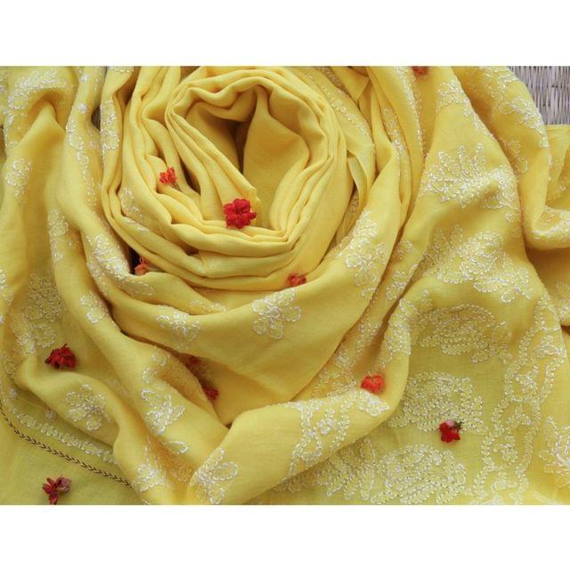 Chikankaari On Bengal Taant In Yellow
