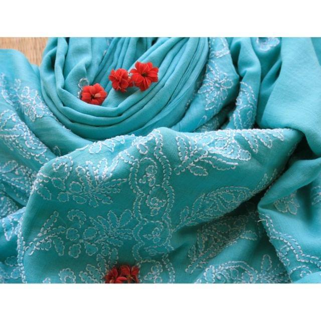 Chikankaari On Bengal Taant In Blue