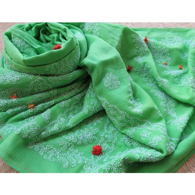 Chikankaari On Bengal Taant In Green