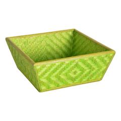 Bamboo Woven Basket Green