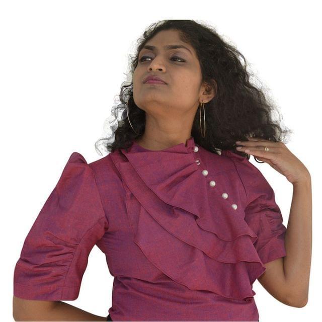 Khadi Cotton - Crop Top - Wine Shade